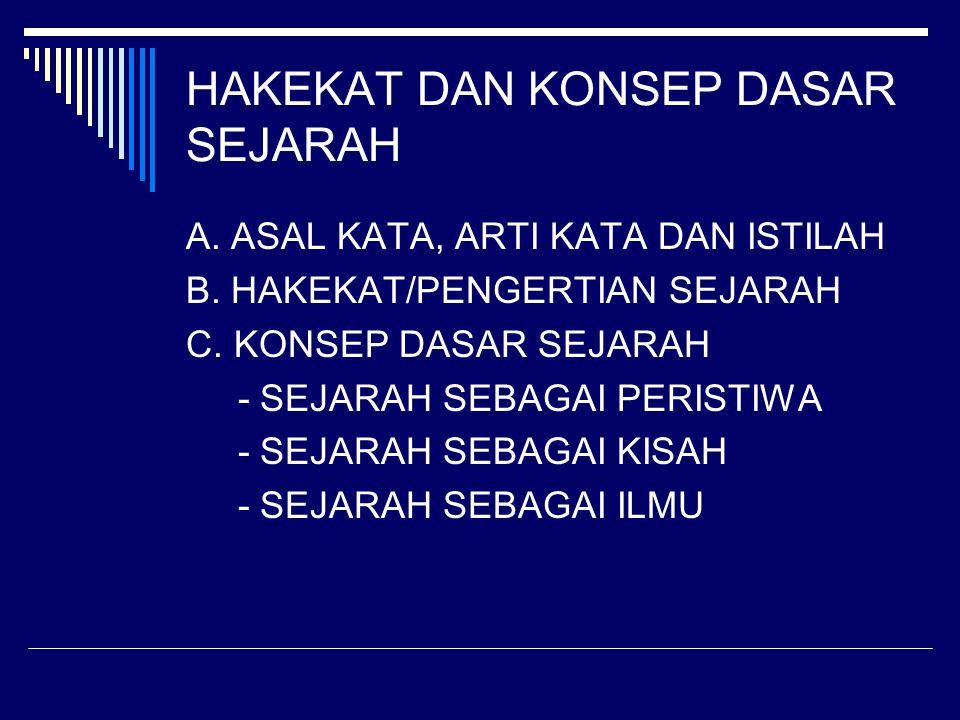 A.ASAL KATA, ARTI KATA DAN ISTILAH B. HAKEKAT/PENGERTIAN SEJARAH C.