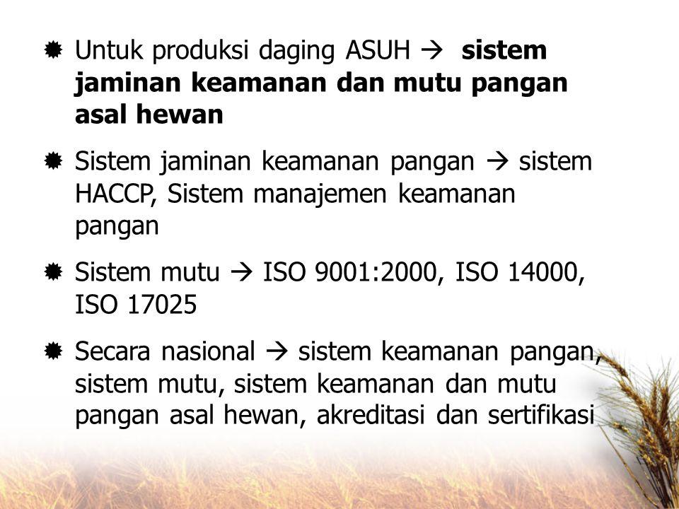  Untuk produksi daging ASUH  sistem jaminan keamanan dan mutu pangan asal hewan  Sistem jaminan keamanan pangan  sistem HACCP, Sistem manajemen ke