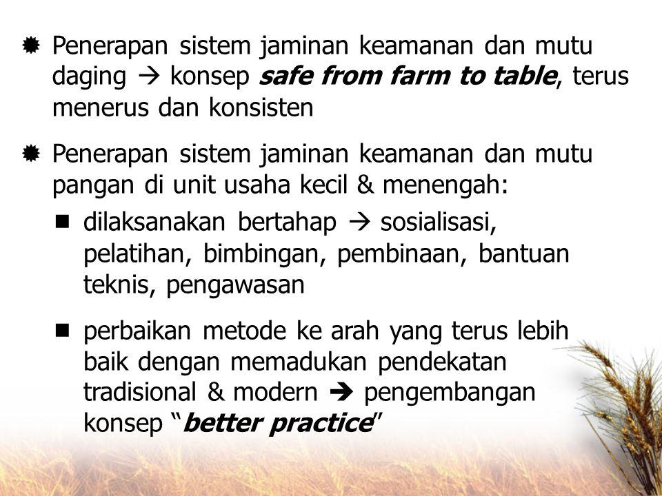  Penerapan sistem jaminan keamanan dan mutu daging  konsep safe from farm to table, terus menerus dan konsisten  Penerapan sistem jaminan keamanan