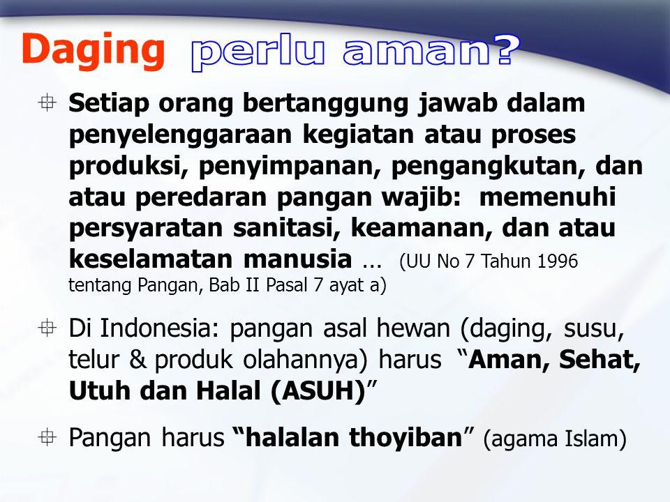  Setiap orang bertanggung jawab dalam penyelenggaraan kegiatan atau proses produksi, penyimpanan, pengangkutan, dan atau peredaran pangan wajib: memenuhi persyaratan sanitasi, keamanan, dan atau keselamatan manusia … (UU No 7 Tahun 1996 tentang Pangan, Bab II Pasal 7 ayat a)  Di Indonesia: pangan asal hewan (daging, susu, telur & produk olahannya) harus Aman, Sehat, Utuh dan Halal (ASUH)  Pangan harus halalan thoyiban (agama Islam) Daging