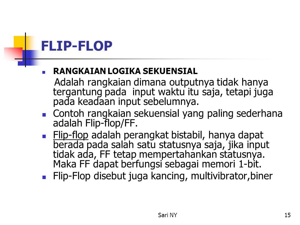 Sari NY15 FLIP-FLOP RANGKAIAN LOGIKA SEKUENSIAL Adalah rangkaian dimana outputnya tidak hanya tergantung pada input waktu itu saja, tetapi juga pada k