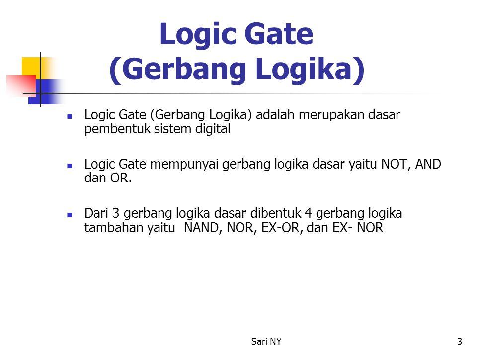 Sari NY3 Logic Gate (Gerbang Logika) Logic Gate (Gerbang Logika) adalah merupakan dasar pembentuk sistem digital Logic Gate mempunyai gerbang logika d