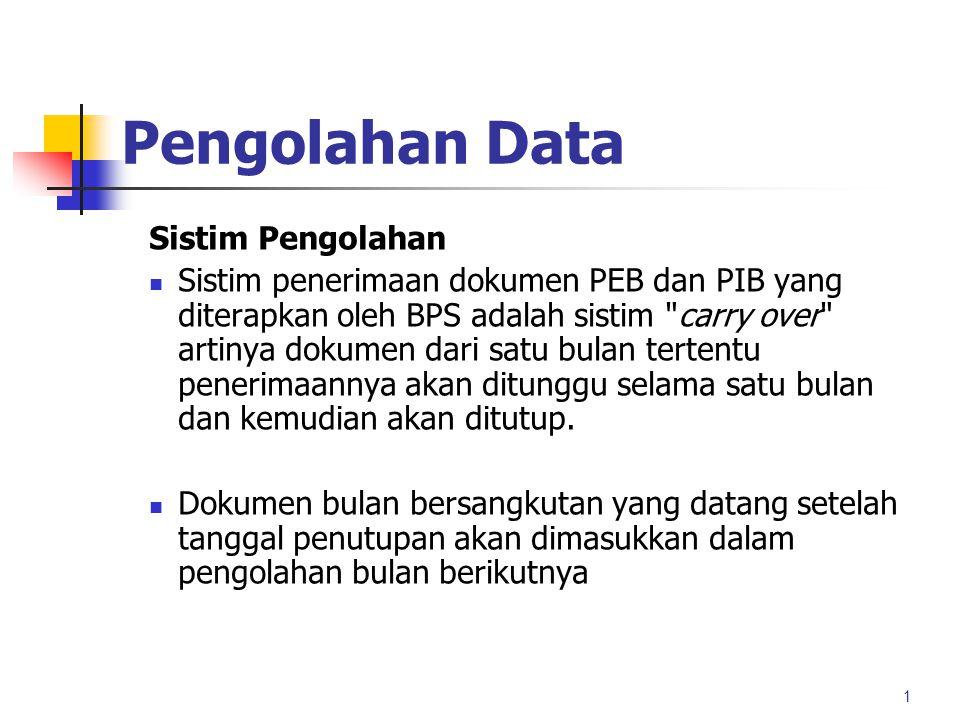 Pengolahan Data Sistim Pengolahan Sistim penerimaan dokumen PEB dan PIB yang diterapkan oleh BPS adalah sistim carry over artinya dokumen dari satu bulan tertentu penerimaannya akan ditunggu selama satu bulan dan kemudian akan ditutup.