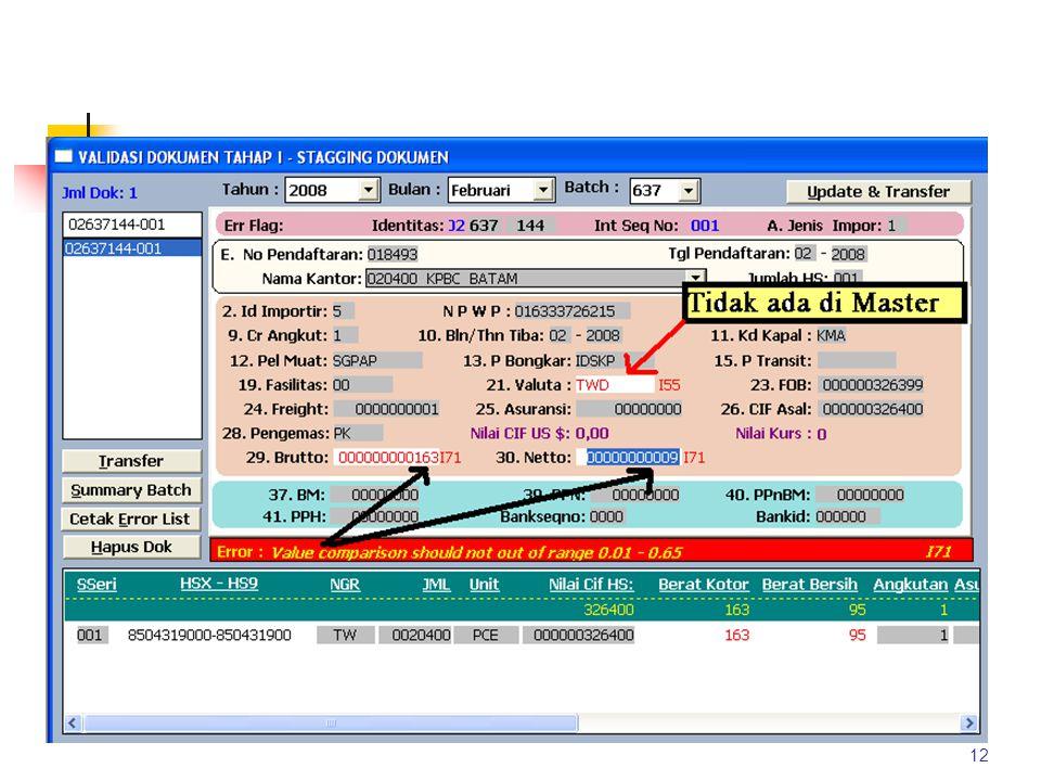 Pengolahan Data Pembetulan VALIDASI 1. Pemeriksaan kesalahan dan warning secara komputerisasi. Kesalahan seperti : Berat kotor < berat bersih, CIF < F