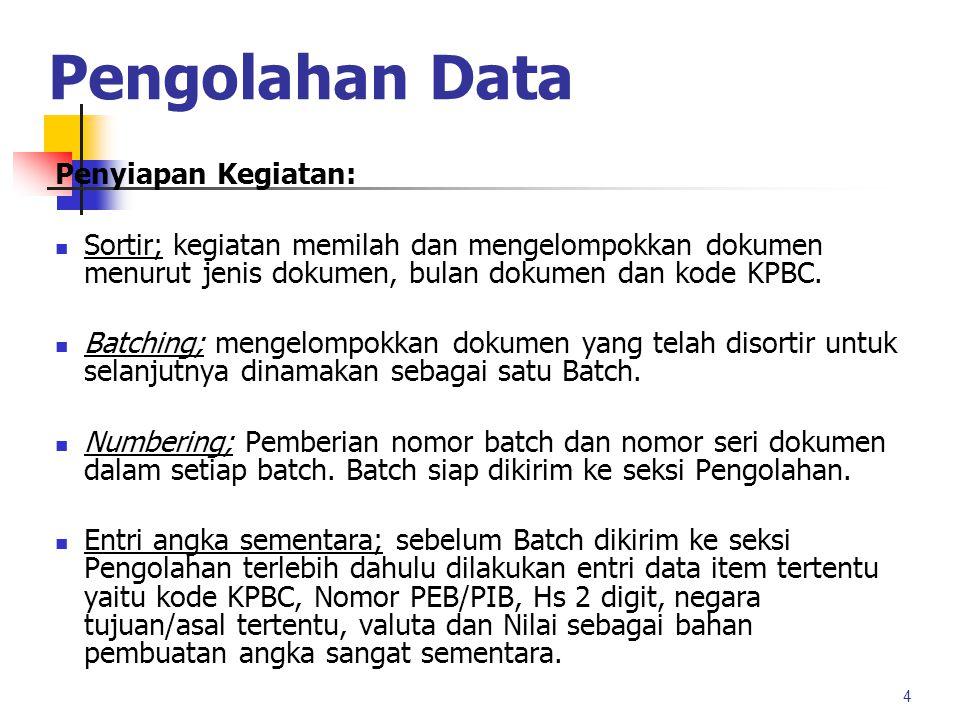 Pengolahan Data 3 Melakukan pengambilan dokumen dari BI dan Bea Cukai SEKSI PENYIAPAN Entry (fields penting ) Batching /Numbering Sortir