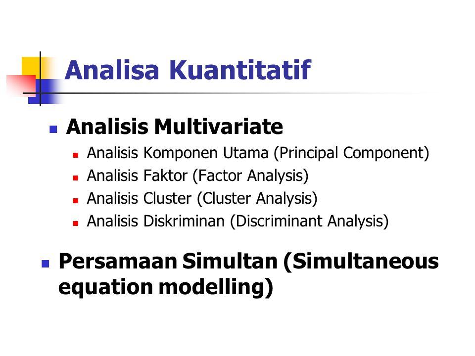 Analisa Kuantitatif Analisis Regresi Regresi sederhana (simple regression) Regresi berganda (multiple regression) Analisis Time Series Autoregressi Ve