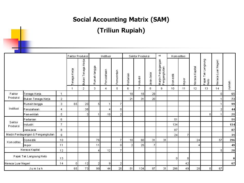 Analisa Kuantitatif Social Accounting Matrix (SAM) SAM disusun dan disajikan dengan memberikan rincian berbagai klasifikasi faktor produksi, pelaku ek