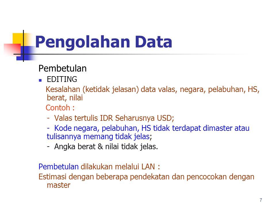 Pengolahan Data Evaluasi dan Laporan Pemeriksaan Kesahihan Data (validasi tahap dua); dilakukan pemeriksaan secara manual untuk memperkirakan kebenaran dan kewajaran data dengan membandingkan antar record.