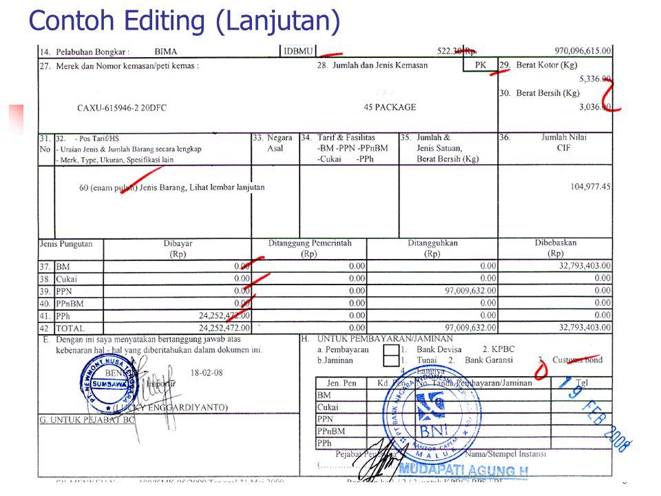 Contoh : Editing 1 8 TIDAK DIOLAH