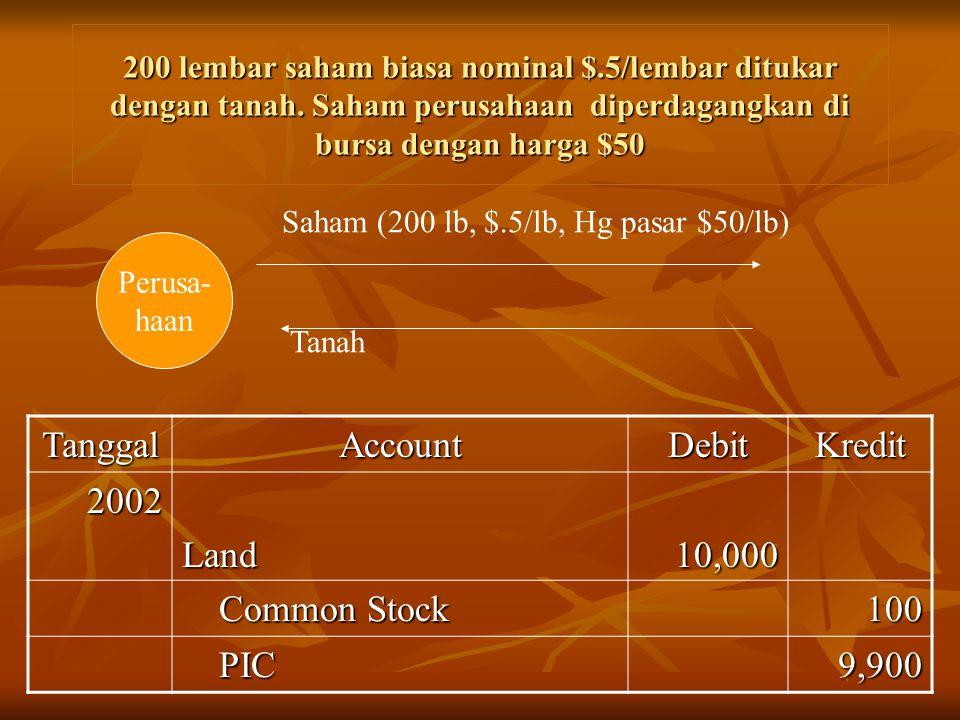 200 lembar saham biasa nominal $.5/lembar ditukar dengan tanah. Saham perusahaan diperdagangkan di bursa dengan harga $50 Perusa- haan Saham (200 lb,