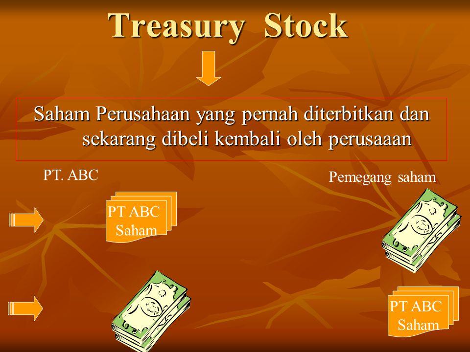 Treasury Stock Saham Perusahaan yang pernah diterbitkan dan sekarang dibeli kembali oleh perusaaan PT ABC Saham PT. ABC Pemegang saham PT ABC Saham