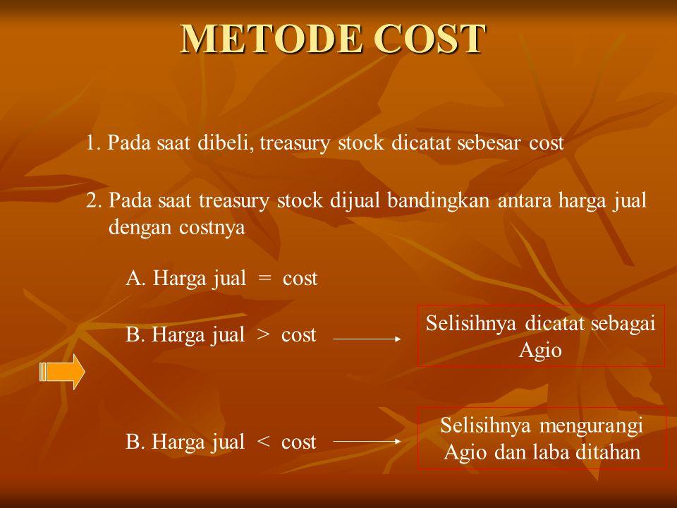 METODE COST 1. Pada saat dibeli, treasury stock dicatat sebesar cost 2. Pada saat treasury stock dijual bandingkan antara harga jual dengan costnya A.