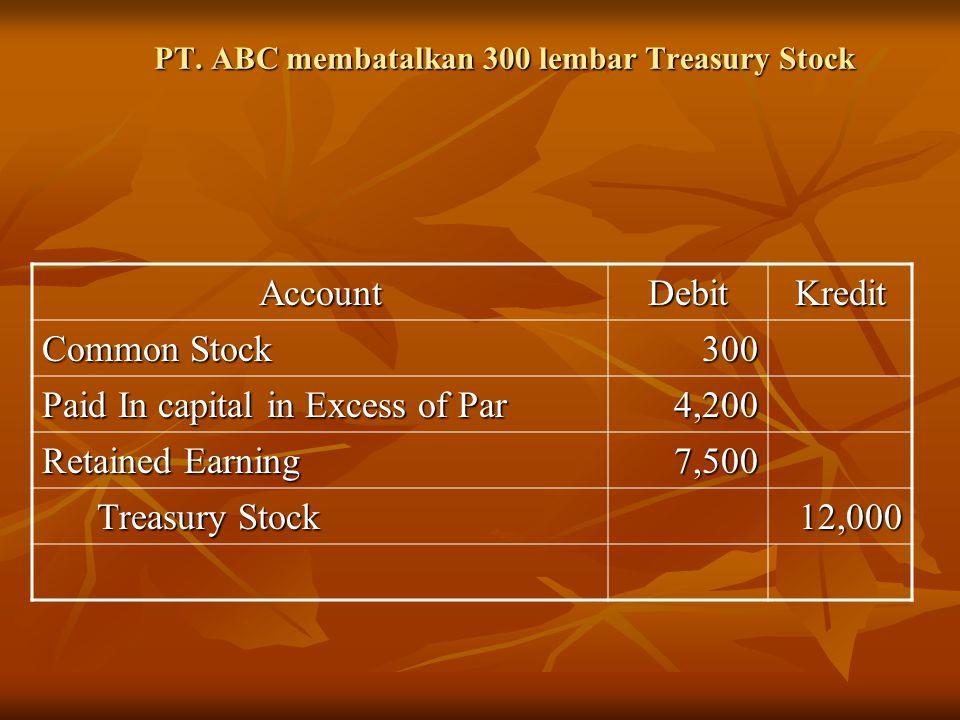 PT. ABC membatalkan 300 lembar Treasury Stock AccountDebitKredit Common Stock 300 Paid In capital in Excess of Par 4,200 Retained Earning 7,500 Treasu