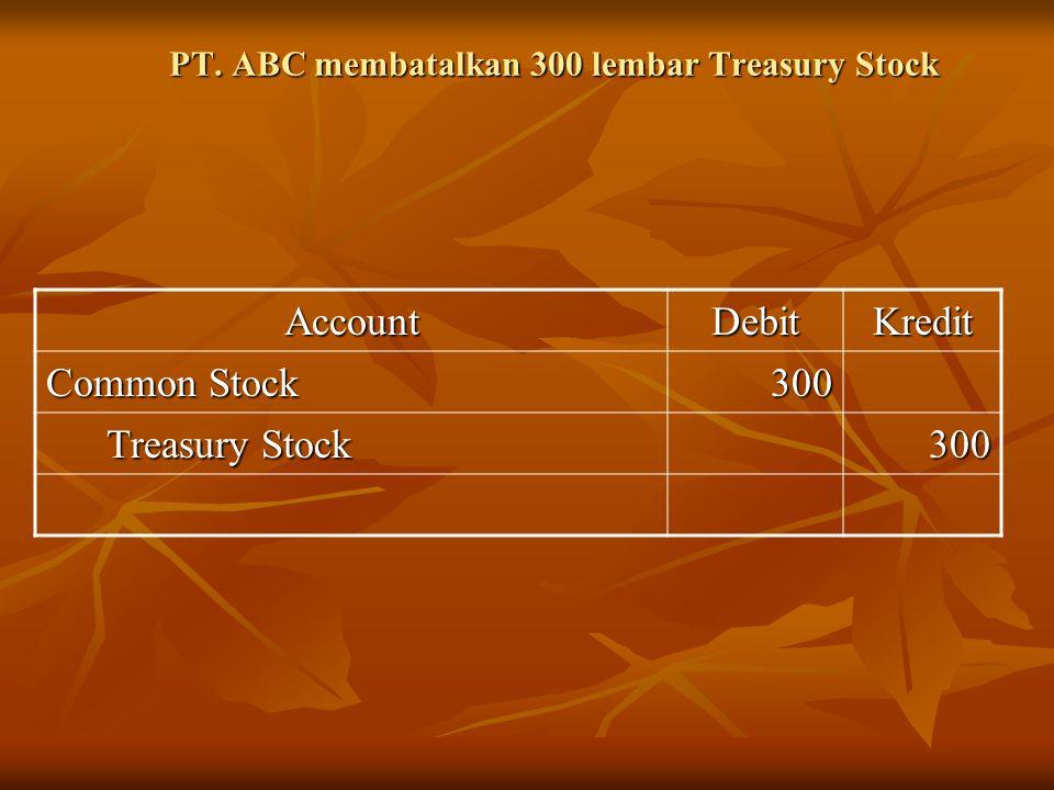 PT. ABC membatalkan 300 lembar Treasury Stock AccountDebitKredit Common Stock 300 Treasury Stock Treasury Stock300