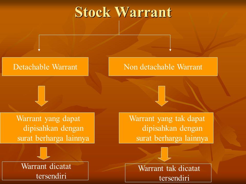 Stock Warrant Non detachable WarrantDetachable Warrant Warrant yang dapat dipisahkan dengan surat berharga lainnya Warrant yang tak dapat dipisahkan d