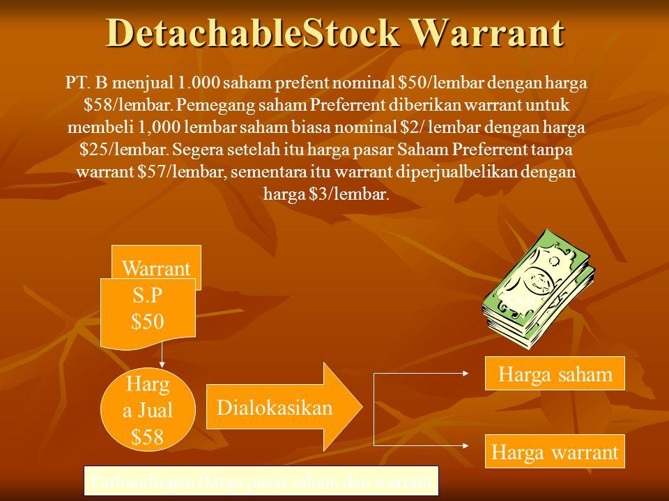 DetachableStock Warrant PT.