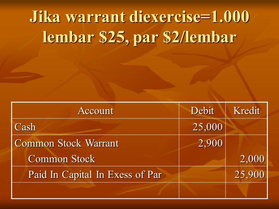 Jika warrant diexercise=1.000 lembar $25, par $2/lembar AccountDebitKredit Cash25,000 Common Stock Warrant Common Stock Common Stock2,9002,000 Paid In Capital In Exess of Par Paid In Capital In Exess of Par25,900