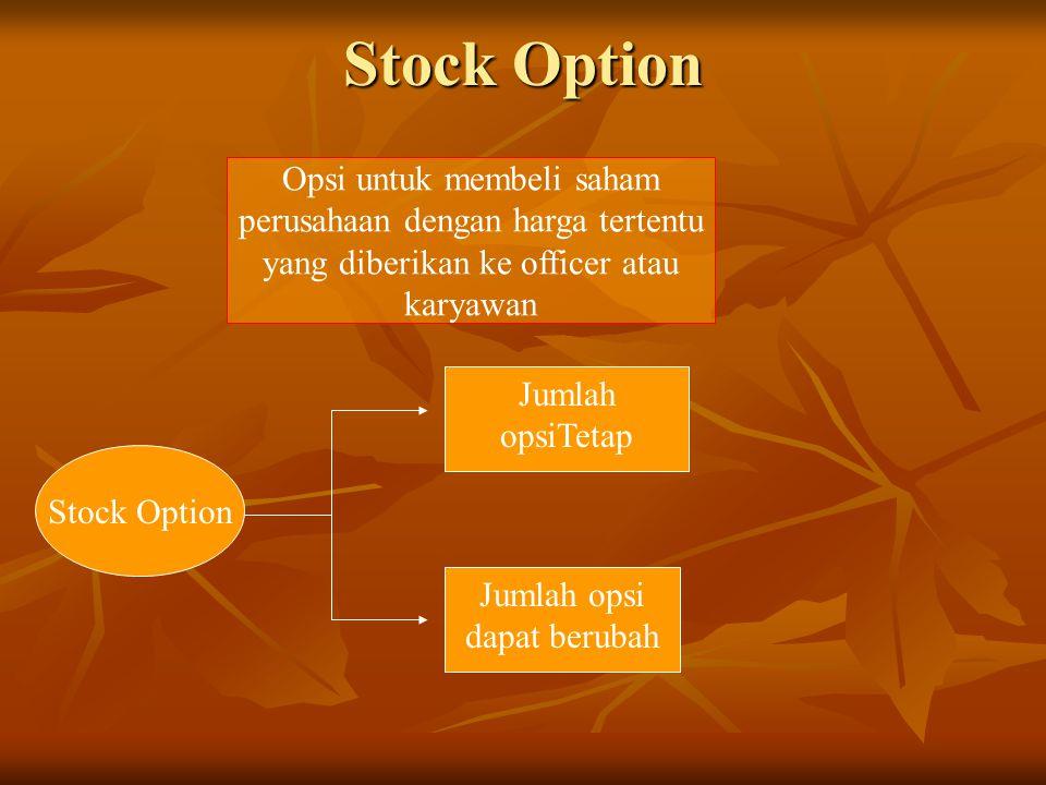 Stock Option Opsi untuk membeli saham perusahaan dengan harga tertentu yang diberikan ke officer atau karyawan Stock Option Jumlah opsiTetap Jumlah op