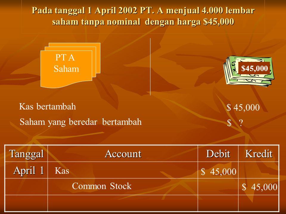 Pada tanggal 1 April 2002 PT. A menjual 4.000 lembar saham tanpa nominal dengan harga $45,000 TanggalAccountDebitKredit April 1 PT A Saham $45,000 Kas