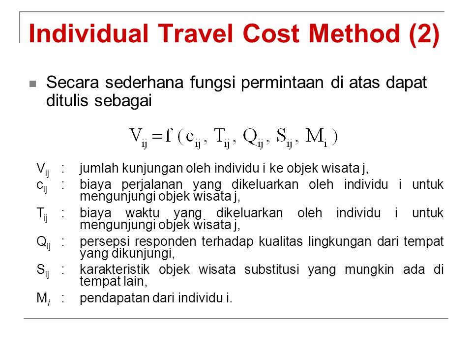 Individual Travel Cost Method (2) Secara sederhana fungsi permintaan di atas dapat ditulis sebagai V ij :jumlah kunjungan oleh individu i ke objek wis