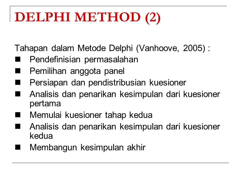 DELPHI METHOD (2) Tahapan dalam Metode Delphi (Vanhoove, 2005) : Pendefinisian permasalahan Pemilihan anggota panel Persiapan dan pendistribusian kues