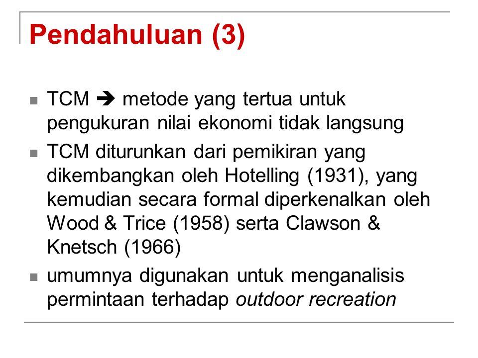 Pendahuluan (3) TCM  metode yang tertua untuk pengukuran nilai ekonomi tidak langsung TCM diturunkan dari pemikiran yang dikembangkan oleh Hotelling