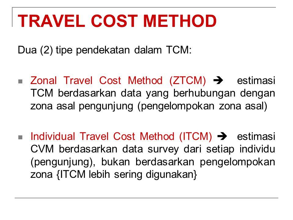 TRAVEL COST METHOD Dua (2) tipe pendekatan dalam TCM: Zonal Travel Cost Method (ZTCM)  estimasi TCM berdasarkan data yang berhubungan dengan zona asa