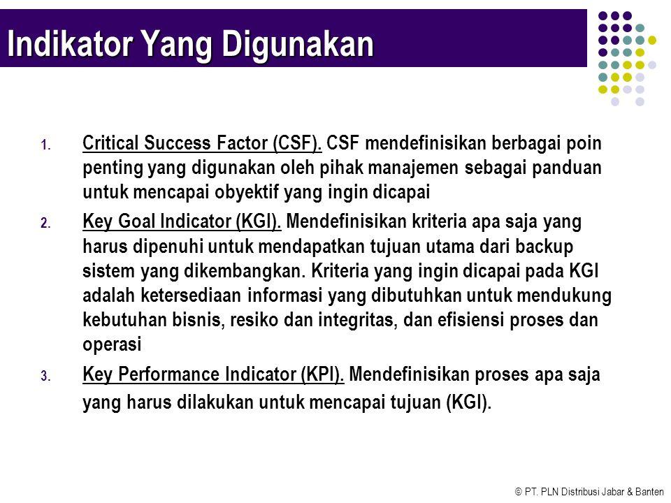 © PT. PLN Distribusi Jabar & Banten Indikator Yang Digunakan 1. Critical Success Factor (CSF). CSF mendefinisikan berbagai poin penting yang digunakan