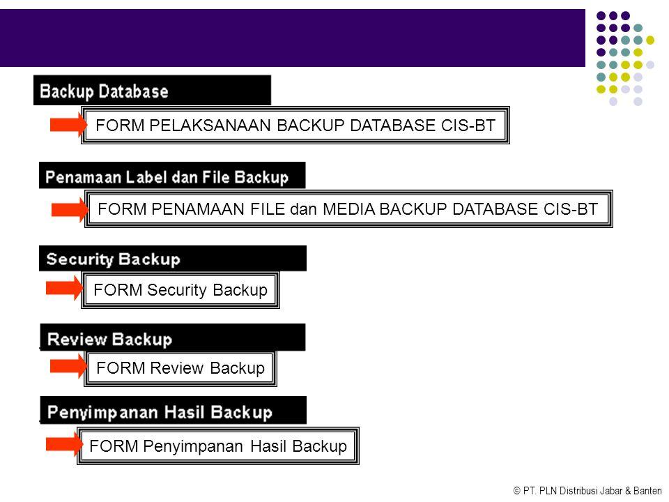 © PT. PLN Distribusi Jabar & Banten FORM PELAKSANAAN BACKUP DATABASE CIS-BT FORM PENAMAAN FILE dan MEDIA BACKUP DATABASE CIS-BT FORM Security Backup F