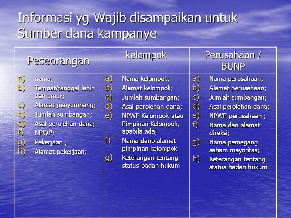 Informasi yg Wajib disampaikan untuk Sumber dana kampanye Peseorangan kelompok Perusahaan / BUNP a) nama; b) Tempat/tanggal lahir dan umur; c) Alamat