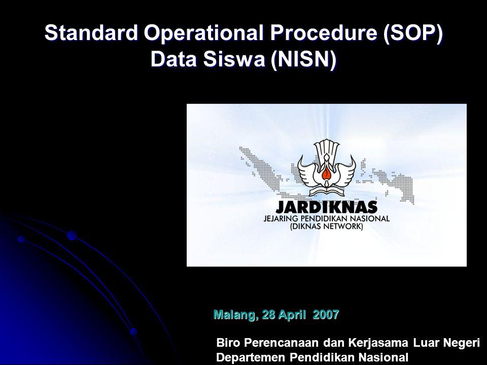 Biro Perencanaan dan Kerjasama Luar Negeri Departemen Pendidikan Nasional Malang, 28 April 2007 Standard Operational Procedure (SOP) Data Siswa (NISN)