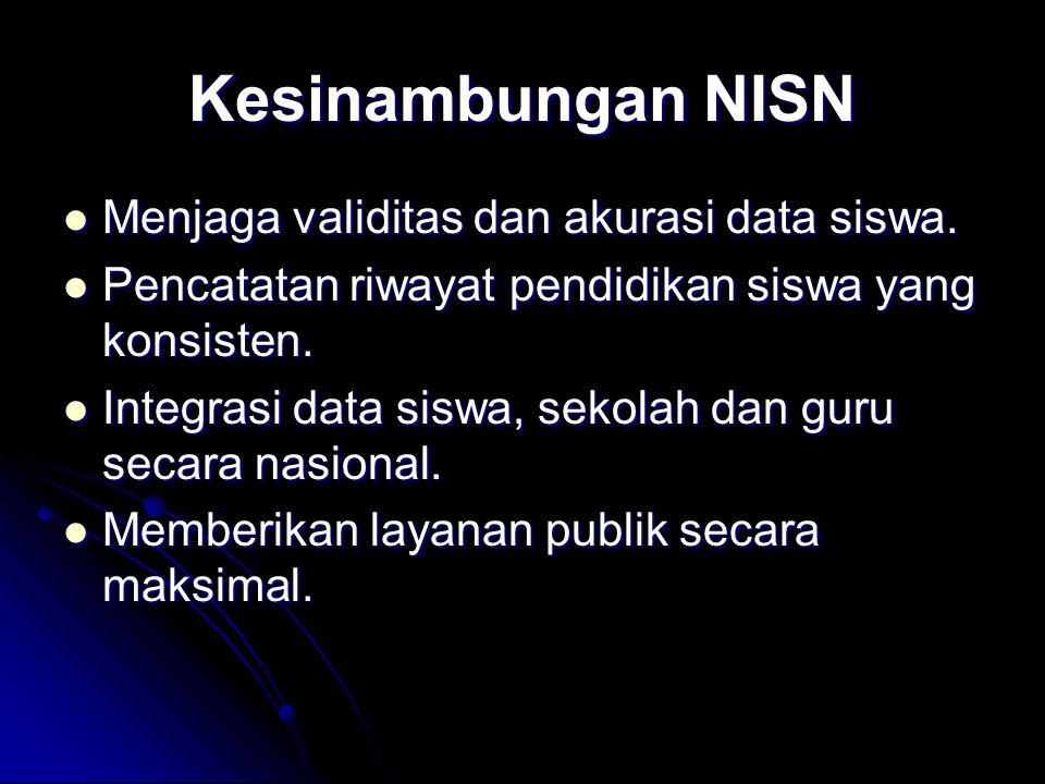 Kesinambungan NISN Menjaga validitas dan akurasi data siswa. Menjaga validitas dan akurasi data siswa. Pencatatan riwayat pendidikan siswa yang konsis