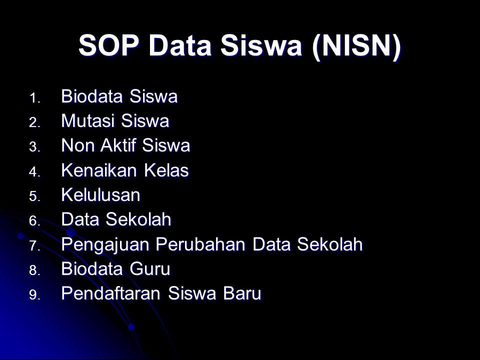 SOP Data Siswa (NISN) 1. Biodata Siswa 2. Mutasi Siswa 3. Non Aktif Siswa 4. Kenaikan Kelas 5. Kelulusan 6. Data Sekolah 7. Pengajuan Perubahan Data S
