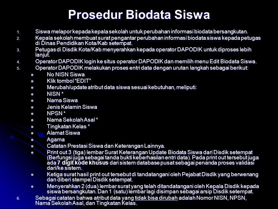 Prosedur Biodata Siswa 1. Siswa melapor kepada kepala sekolah untuk perubahan informasi biodata bersangkutan. 2. Kepala sekolah membuat surat penganta