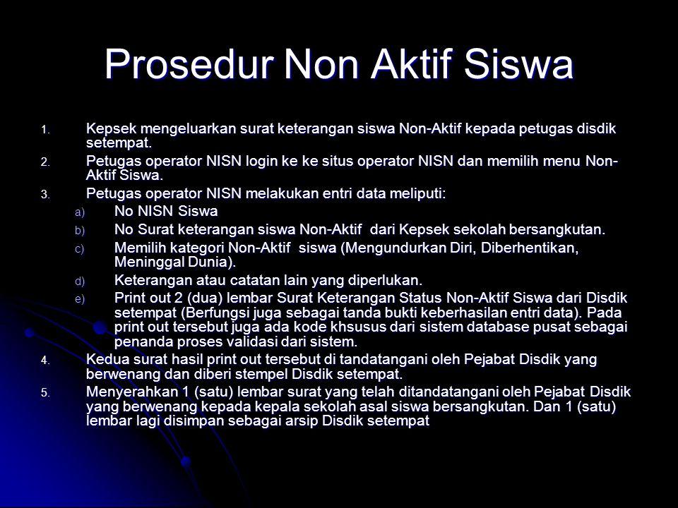 Prosedur Non Aktif Siswa 1. Kepsek mengeluarkan surat keterangan siswa Non-Aktif kepada petugas disdik setempat. 2. Petugas operator NISN login ke ke