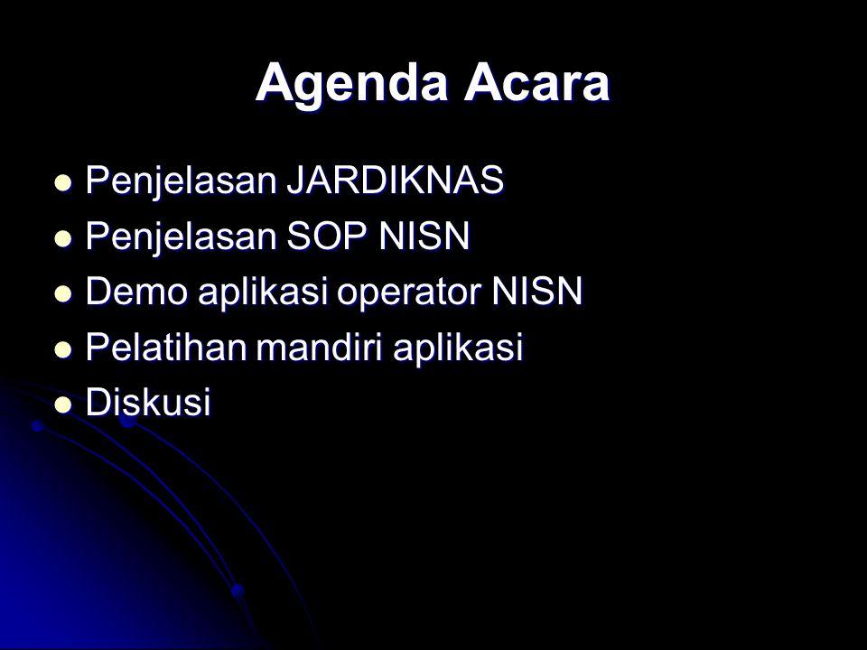 Agenda Acara Penjelasan JARDIKNAS Penjelasan JARDIKNAS Penjelasan SOP NISN Penjelasan SOP NISN Demo aplikasi operator NISN Demo aplikasi operator NISN