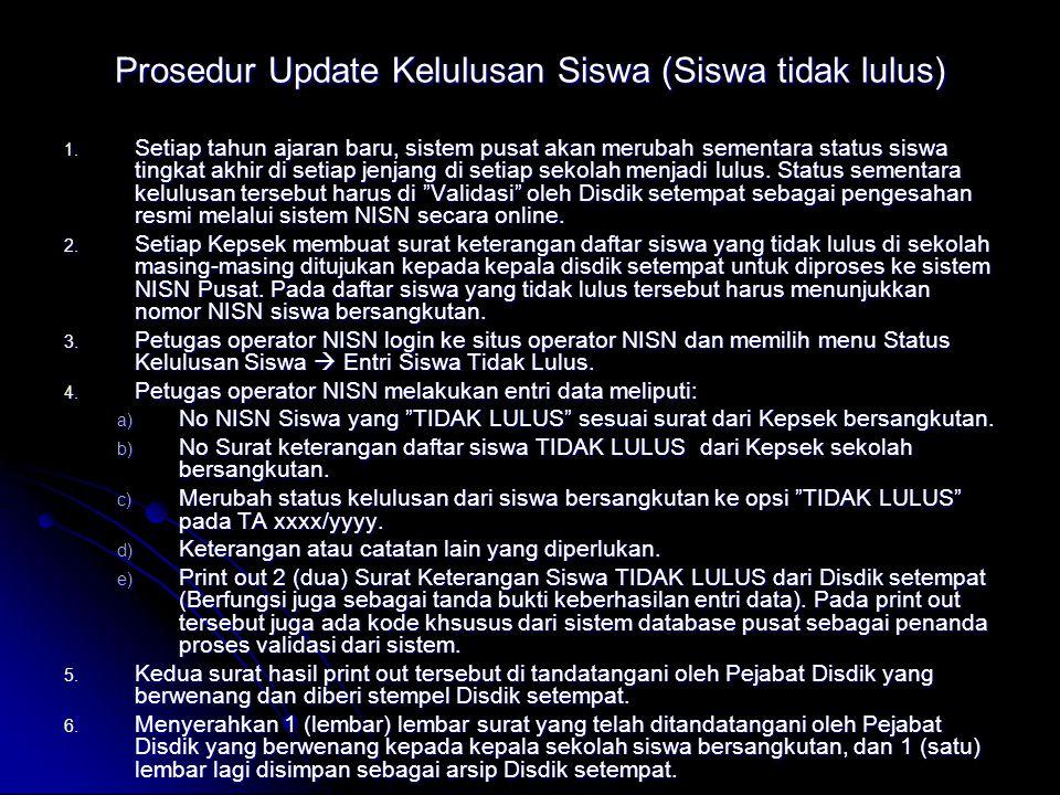 Prosedur Update Kelulusan Siswa (Siswa tidak lulus) 1.
