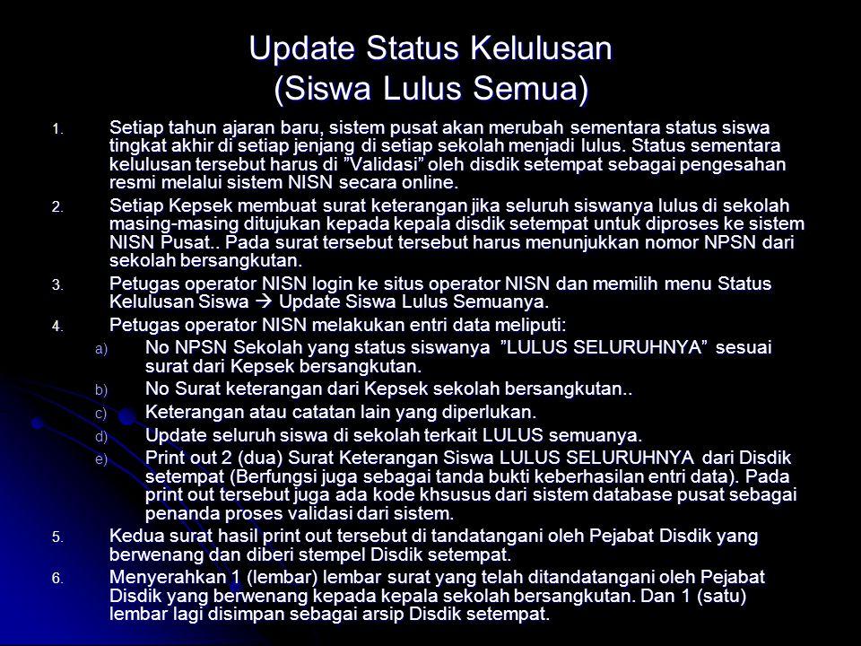 Update Status Kelulusan (Siswa Lulus Semua) 1.