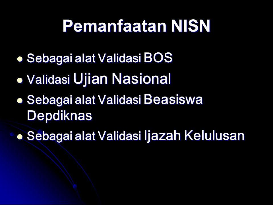Pemanfaatan NISN Sebagai alat Validasi BOS Sebagai alat Validasi BOS Validasi Ujian Nasional Validasi Ujian Nasional Sebagai alat Validasi Beasiswa Depdiknas Sebagai alat Validasi Beasiswa Depdiknas Sebagai alat Validasi Ijazah Kelulusan Sebagai alat Validasi Ijazah Kelulusan