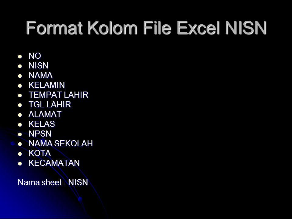 Format Kolom File Excel NISN NO NO NISN NISN NAMA NAMA KELAMIN KELAMIN TEMPAT LAHIR TEMPAT LAHIR TGL LAHIR TGL LAHIR ALAMAT ALAMAT KELAS KELAS NPSN NP