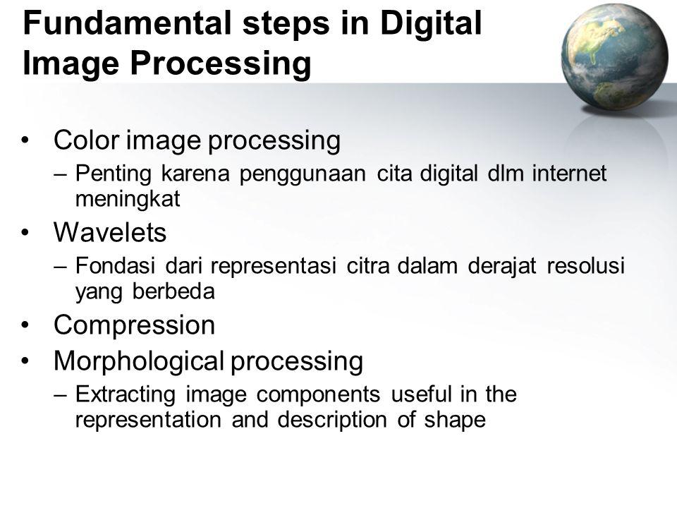 Fundamental steps in Digital Image Processing Color image processing –Penting karena penggunaan cita digital dlm internet meningkat Wavelets –Fondasi