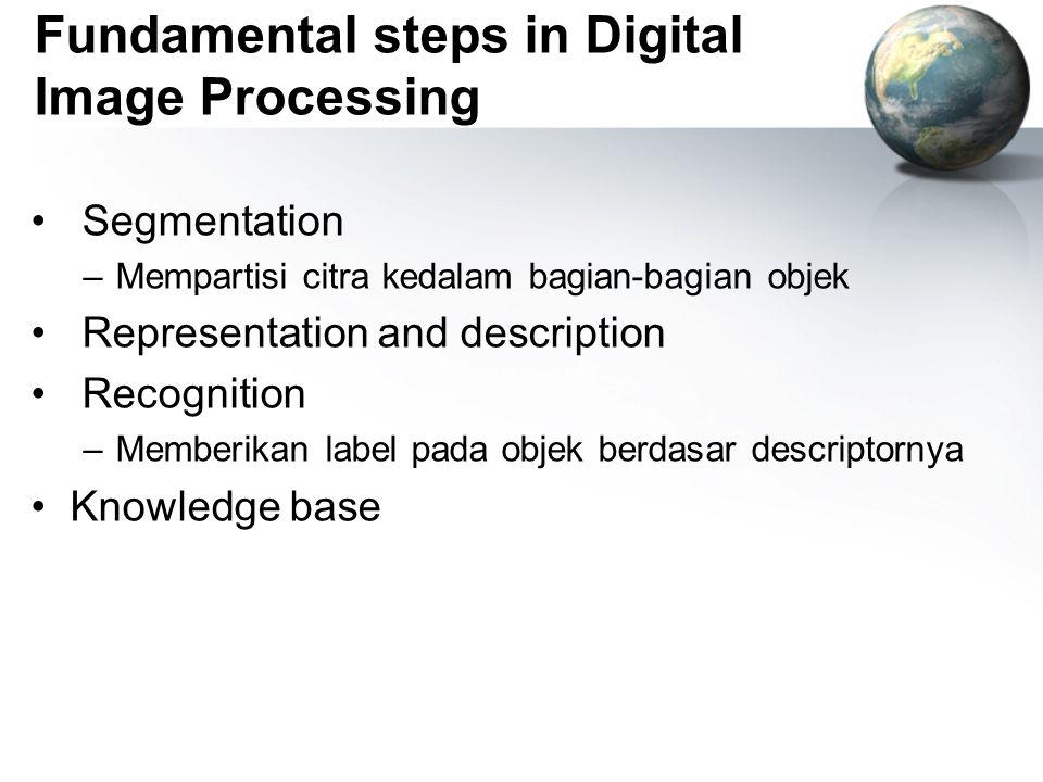 Fundamental steps in Digital Image Processing Segmentation –Mempartisi citra kedalam bagian-bagian objek Representation and description Recognition –M
