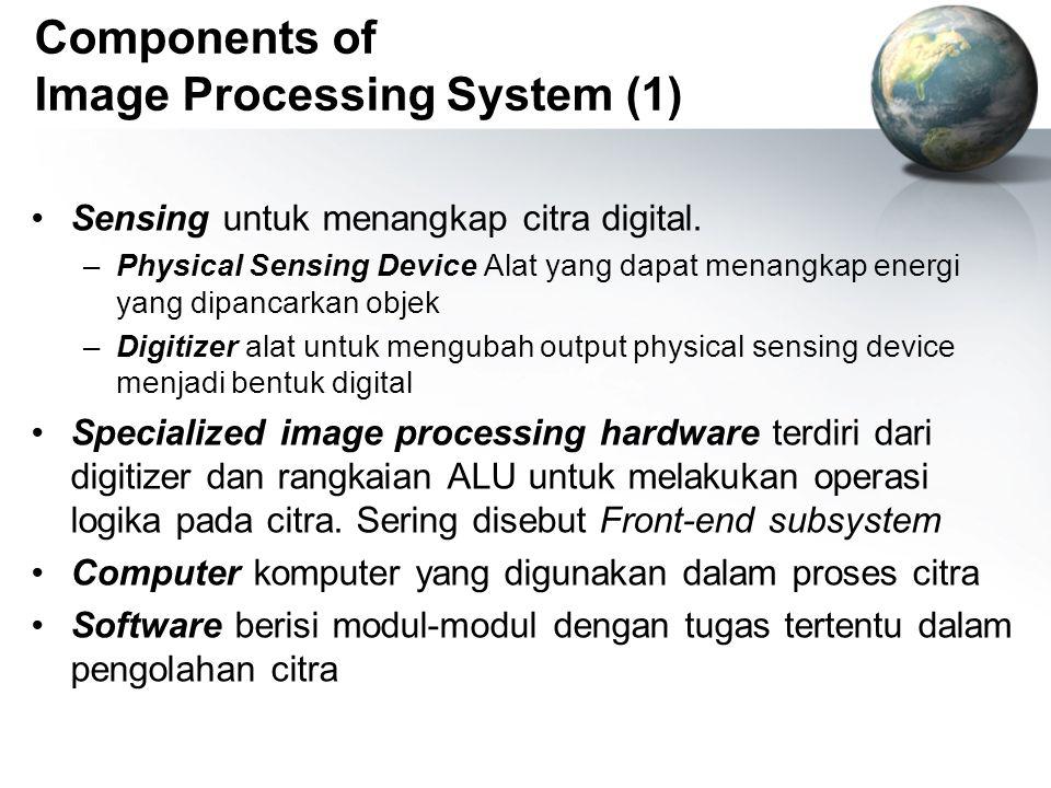 Components of Image Processing System (1) Sensing untuk menangkap citra digital. –Physical Sensing Device Alat yang dapat menangkap energi yang dipanc
