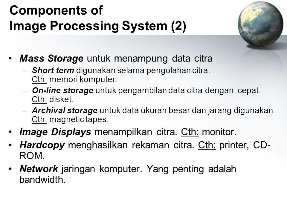 Components of Image Processing System (2) Mass Storage untuk menampung data citra –Short term digunakan selama pengolahan citra. Cth: memori komputer.