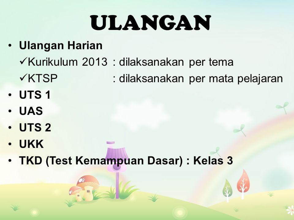 Ulangan Harian Kurikulum 2013: dilaksanakan per tema KTSP: dilaksanakan per mata pelajaran UTS 1 UAS UTS 2 UKK TKD (Test Kemampuan Dasar) : Kelas 3 ULANGAN