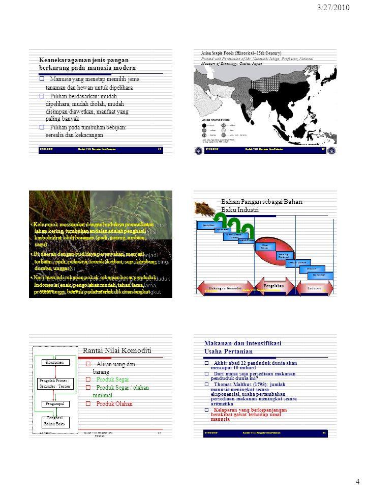 protein tinggi, bentuk padat mudah dikemas/angkut 4 27/03/2010Kuliah VIII, Pengantar Ilmu Pertanian19 Keanekaragaman jenis pangan berkurang pada manus