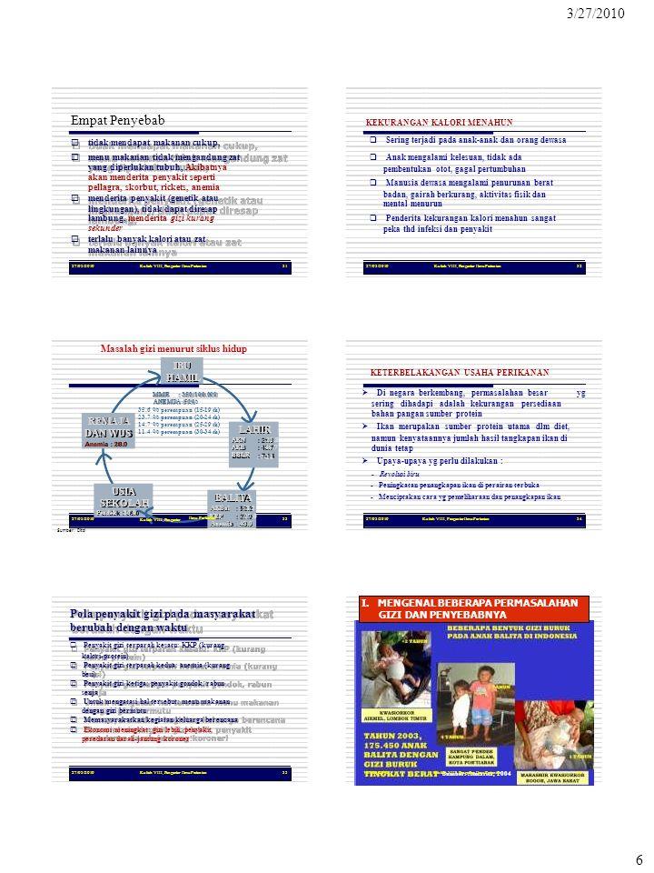 Sumber: Atmarita, 2004 KEP : 27.0 3/27/2010 6 27/03/2010Kuliah VIII, Pengantar Ilmu Pertanian31 Empat Penyebab  tidak mendapat makanan cukup,  men