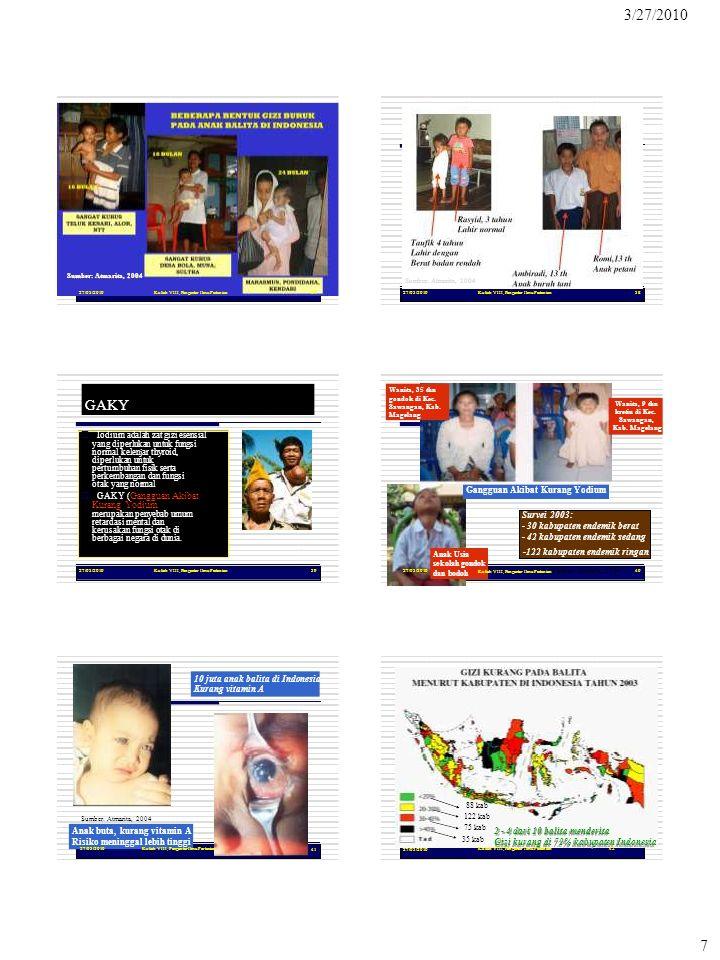 dan bodoh Gizi kurang di 72% kabupaten Indonesia 3/27/2010 7 27/03/2010Kuliah VIII, Pengantar Ilmu Pertanian37 Sumber: Atmarita, 2004 27/03/2010Kuliah