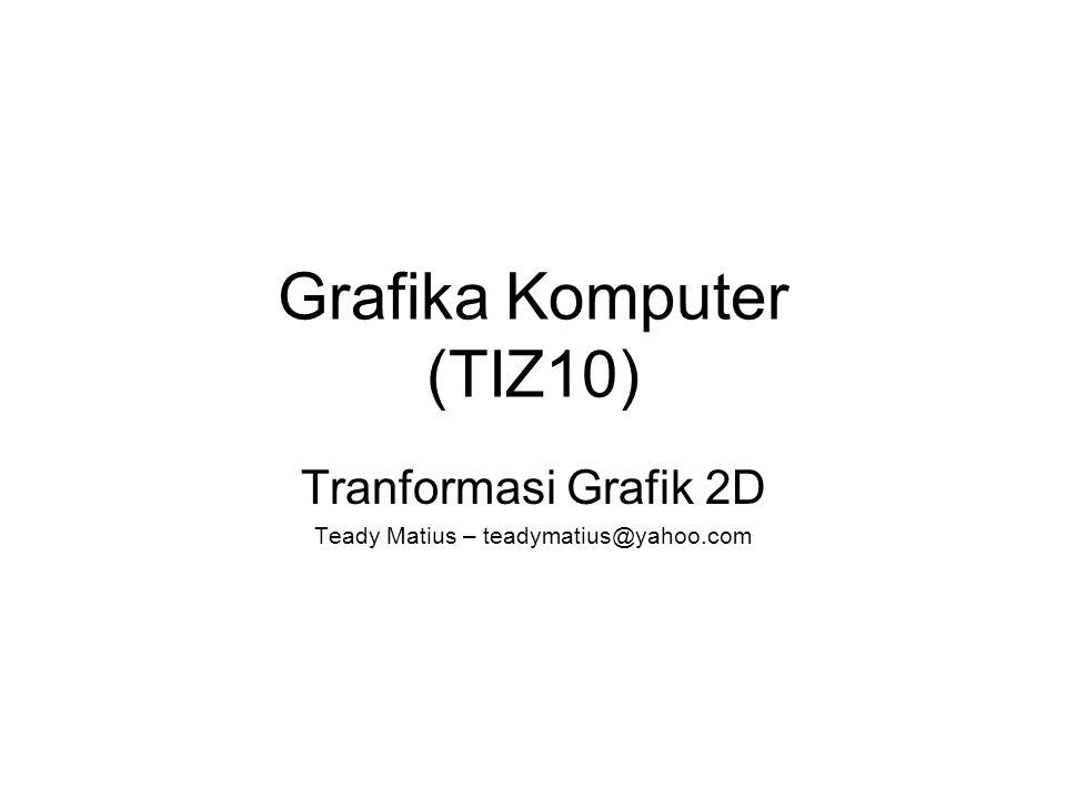 Grafika Komputer (TIZ10) Tranformasi Grafik 2D Teady Matius – teadymatius@yahoo.com
