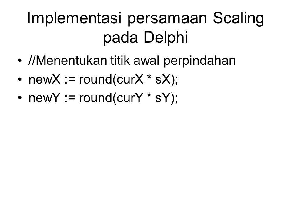 Implementasi persamaan Scaling pada Delphi //Menentukan titik awal perpindahan newX := round(curX * sX); newY := round(curY * sY);